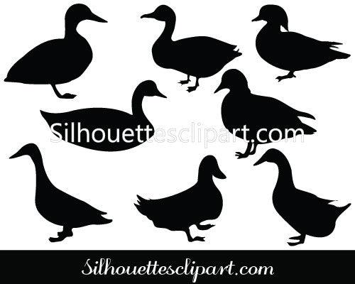 Duck Silhouette clip art Pack