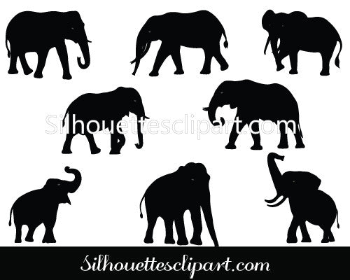 Elephant Silhouette Vector Graphics Pack