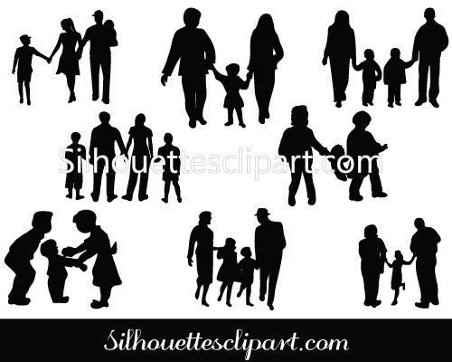 Family Silhouette Vector Graphics