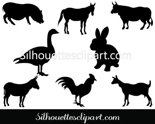 Farm Animal Silhouette Clip Art