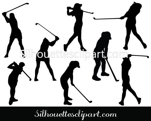 Female Golfer Silhouette Vector