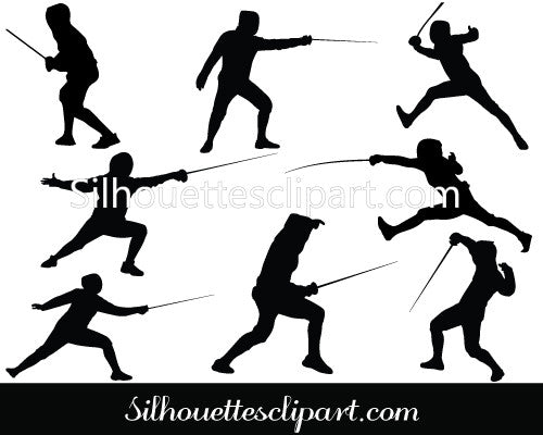 Fencing Silhouette Vector