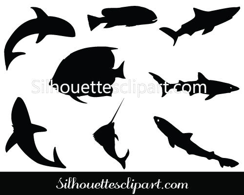 Fish Silhouette Clip Art  Pack