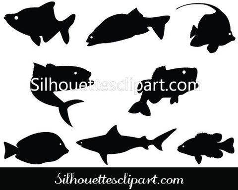Fish Silhouette Vector Clip Art
