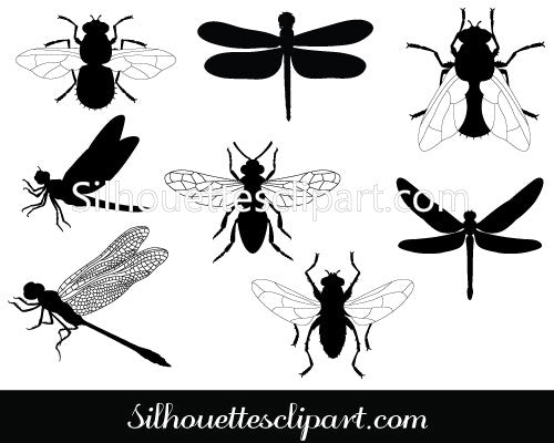Flies Silhouette Clip Art Pack