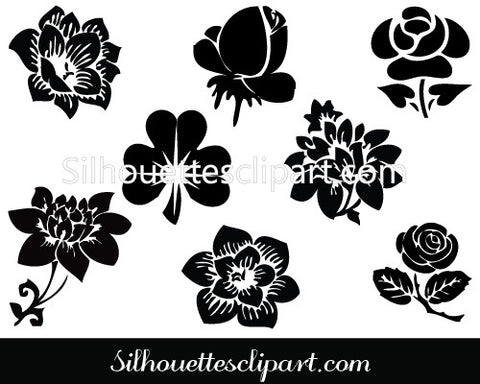 Flower Silhouette Clip Art Pack