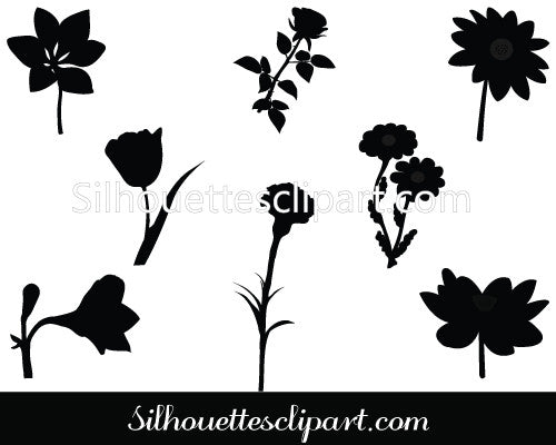 Flower Silhouette Vector Graphics Pack