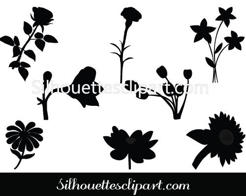 Flower silhouette vector graphics
