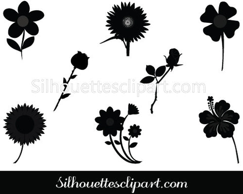 Flowers Vector Silhouette Graphics