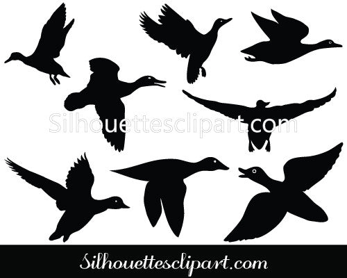 Flying Duck Silhouette Vector Graphics