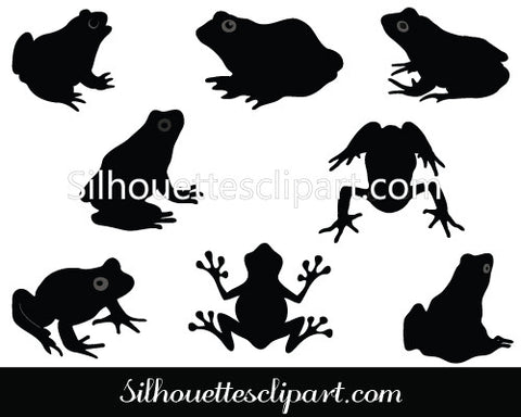Frog Silhouette Vector Graphics Pack