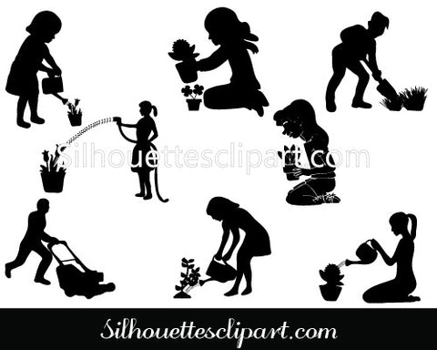 Gardening Silhouette Vector Graphics Pack