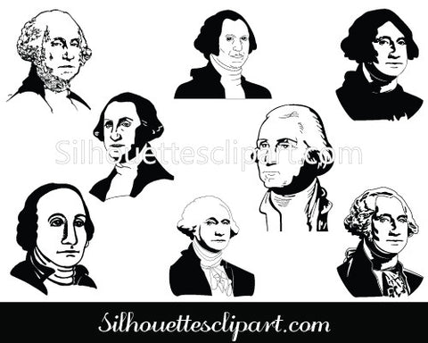 George Washington Silhouette Clip Art pack