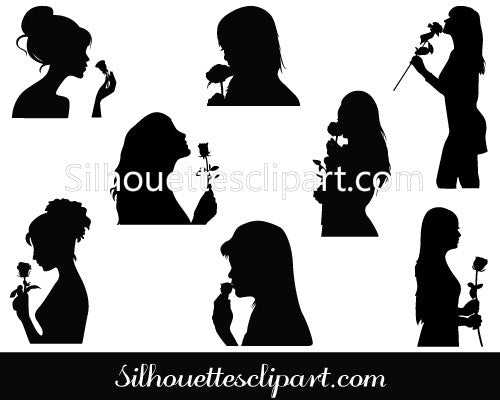 Girl Silhouette With Rose