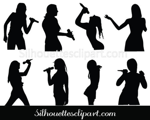 Girls Singing Silhouette Clip art Pack