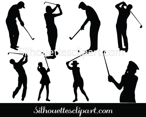 Female Golfer Silhouette Vector Free Download Silhouettes Vector