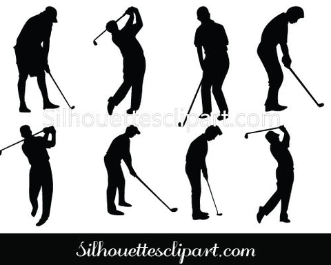 Golf Silhouette Vector - Golfer Swinging the Golf Club Pose
