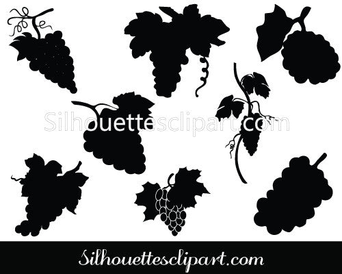 Grapes Silhouette Vector Pack