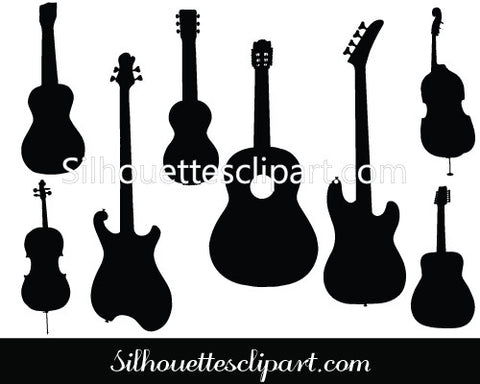 Guitar Silhouette Clipart Graphics in Vector Format