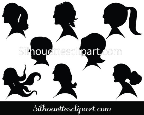 Hairstyle Silhouette Clip Art Pack