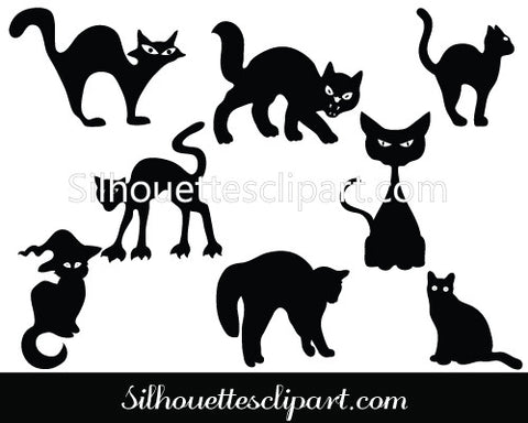 Halloween Cat Silhouette Vector Graphics