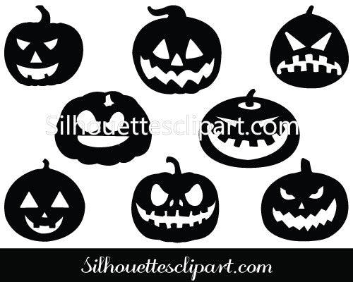 Halloween Pumpkin Silhouette Vector Graphics