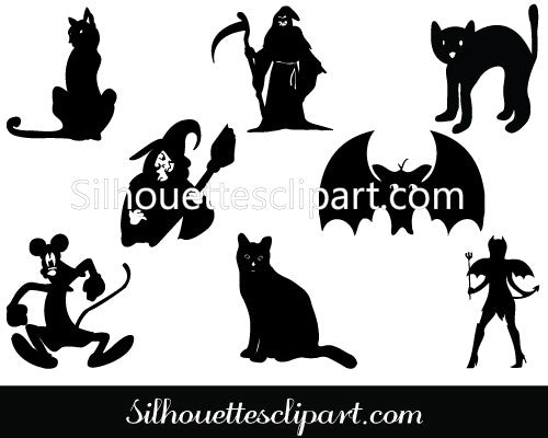 Halloween Silhouette Clip Art Packs