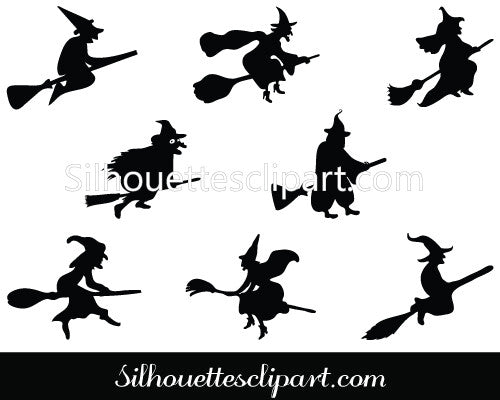 Halloween Witch Flying on a Broomstick Vector Graphics