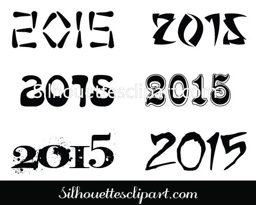 Happy New Year 2015 Silhouette Vector