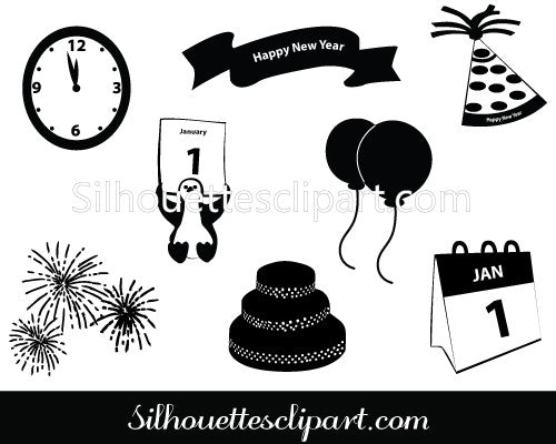 New Year 2020 Silhouette Clip Art Pack