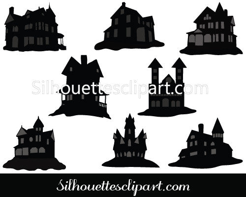 Haunted House Silhouette Vector Graphics Pack