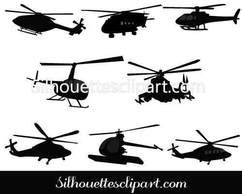 Helicopter Silhouette Vector Graphics