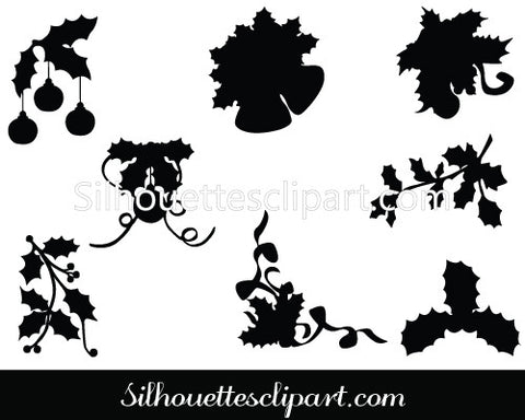 Holly Christmas Silhouette Ornament