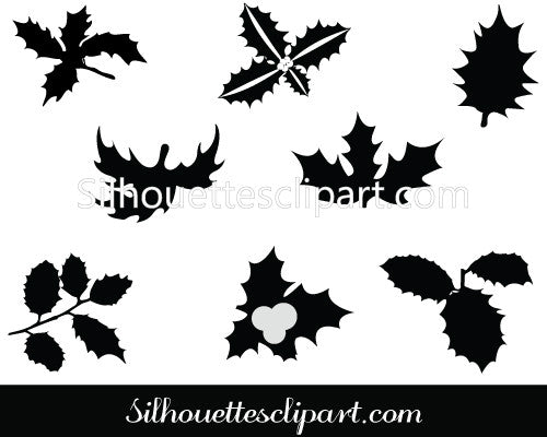 Holly leaf Silhouette Clip Art Pack