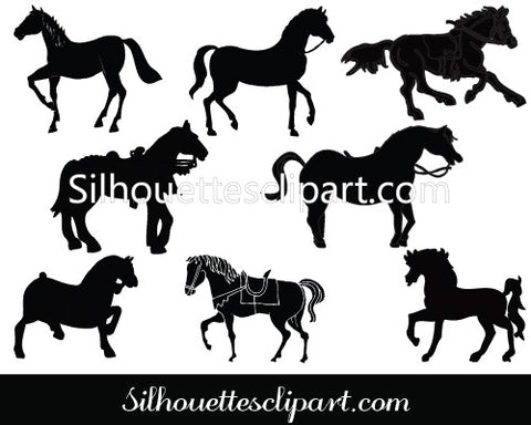 Horse Silhouette Clip Art Pack