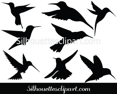 Humming bird Silhouette Clip Art Pack Template