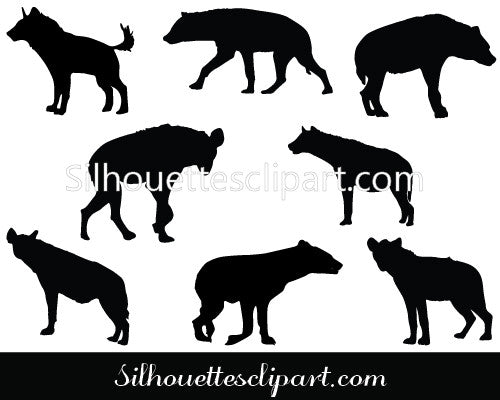 Hyena Silhouette Vector Graphics