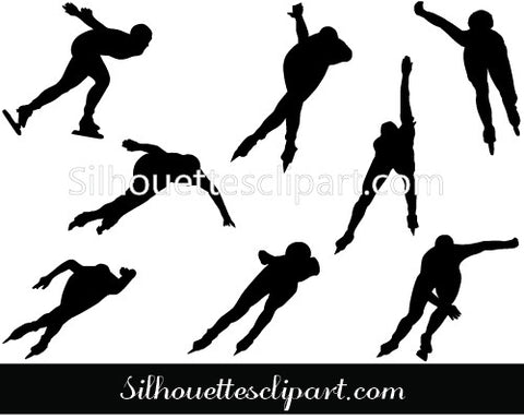 Ice Speed Skating Silhouette Vector