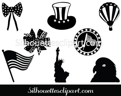 Independence Day Silhouette Clip Art Pack Template