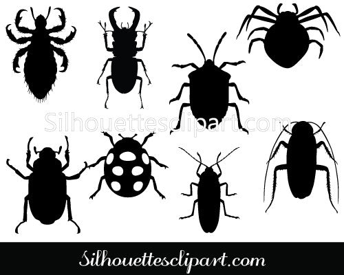Insects Silhouette Clip Art Pack