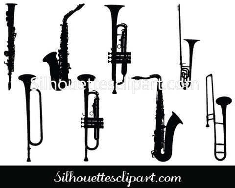 Music Instruments Silhouette Clip Art Pack