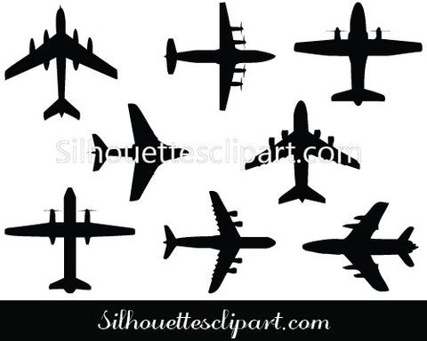 Jet Silhouette Vector Graphics