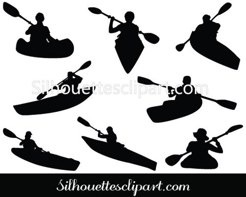 Kayaking Silhouette Vector