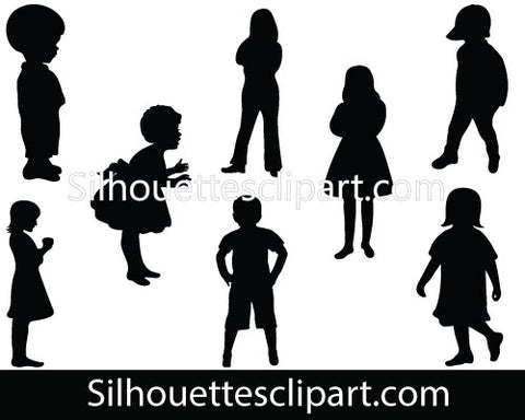 Children Silhouette Vector Graphics Pack