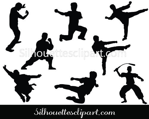 Kung Fu Fighters Silhouette Clipart Set