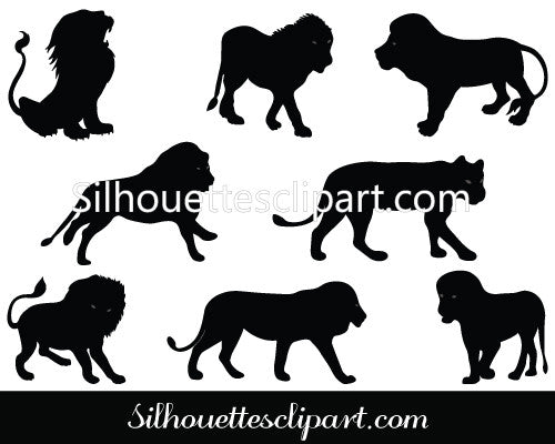 Vector Silhouette Images of Lions Silhouette