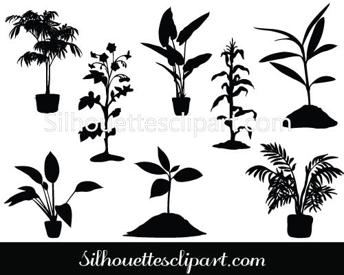 Little plant Silhouette Vector Pack