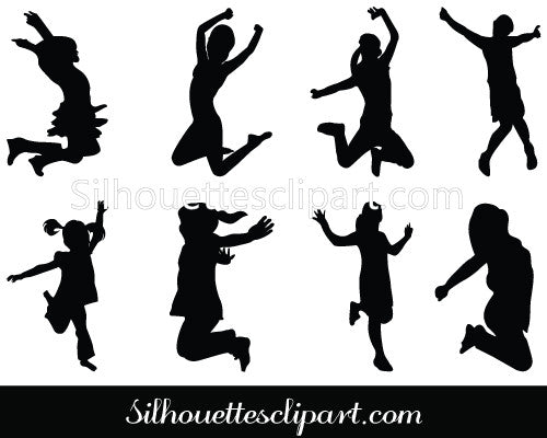 Jumping Girls Silhouette Vector Clipart