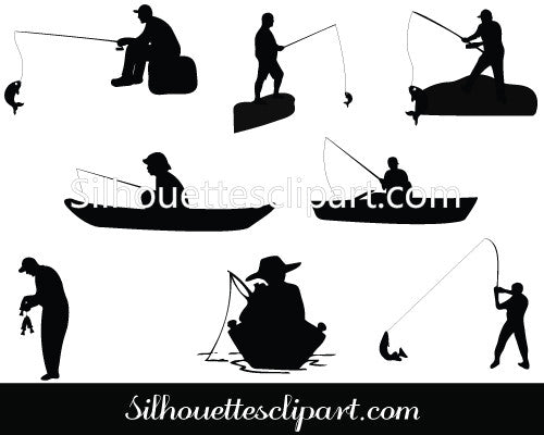 Man Fishing Silhouette Vector Graphics