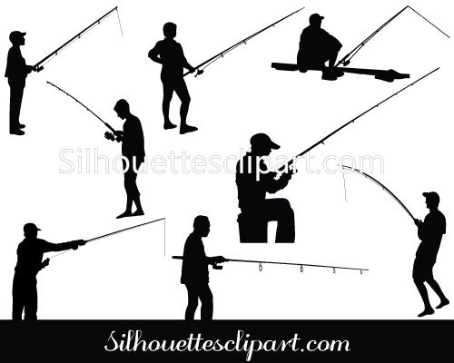 Man Fishing Vector Graphics